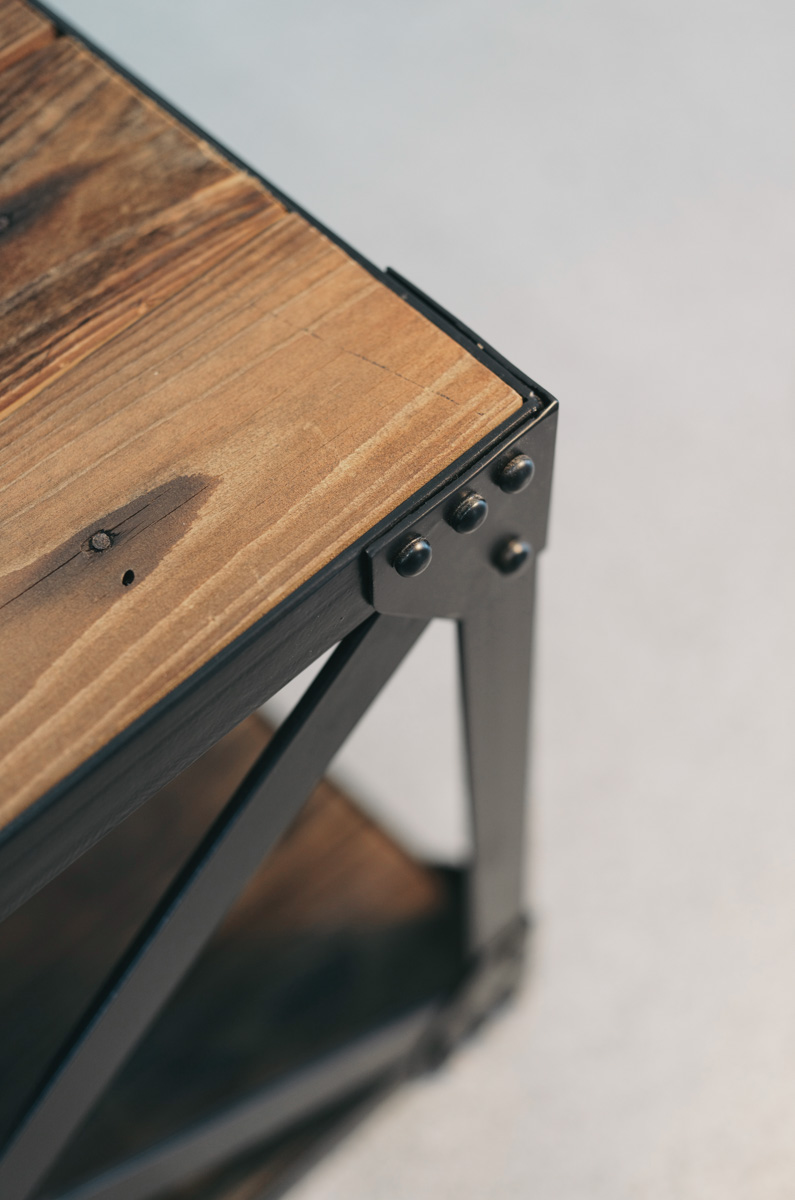 Rock Reclaimed Coffee Table With X Frame Ironwood